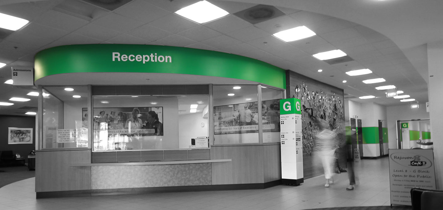 Hospital Wayfinding G Block Reception