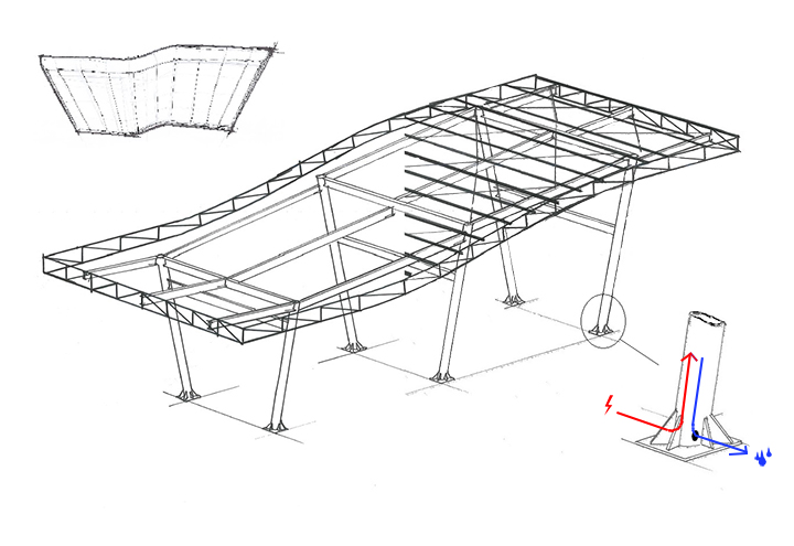Sketch of canopy structural design